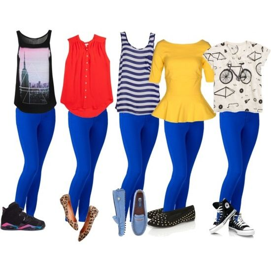 what to wear with blue leggings